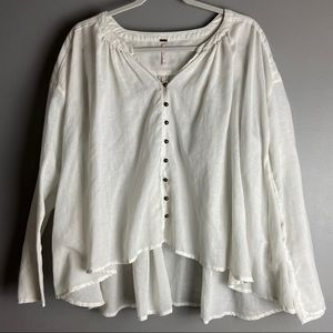 Free People Sheer Flowy Blouse Button Down Top